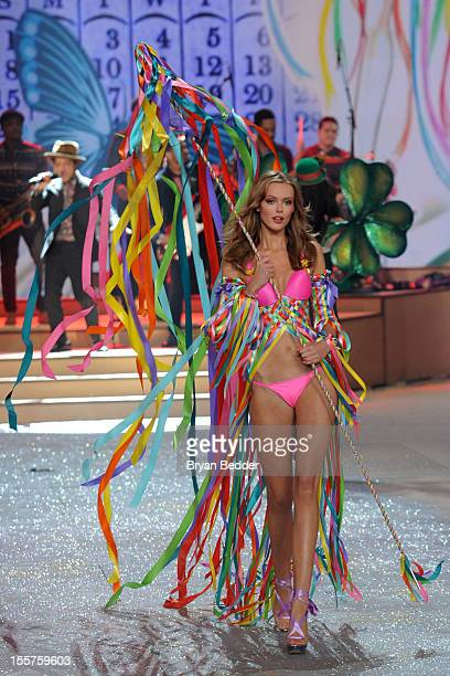 Model Frida Gustavsson walks the runway during the Victoria's Secret 2012 Fashion Show on November 7 2012 in New York City