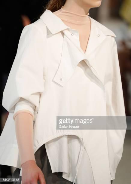A model fshion details walks the runway at the Vladimir Karaleev show during the MercedesBenz Fashion Week Berlin Spring/Summer 2018 at Kaufhaus...
