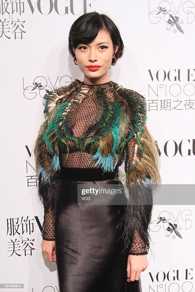 Model Ge Huijie attends the Vogue NO.100 night at Ch'ien Men 23 on November 12, 2013 in Beijing, China.