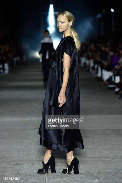 Model Gemma Ward walks the runway at the MercedesBenz Presents Ellery show at MercedesBenz Fashion Week Australia 2015 at Carriageworks on April 12...
