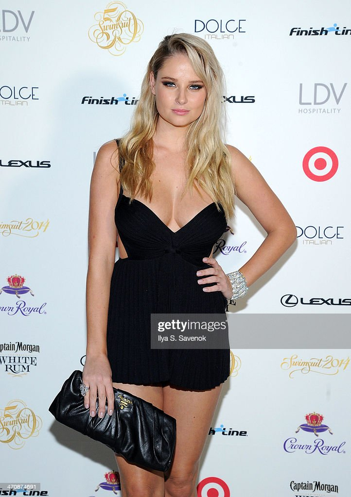 Model <a gi-track='captionPersonalityLinkClicked' href=/galleries/search?phrase=Genevieve+Morton&family=editorial&specificpeople=6583076 ng-click='$event.stopPropagation()'>Genevieve Morton</a> arrives at SI Swimsuit South Beach Soiree at The Gale South Beach on February 20, 2014 in Miami Beach, Florida.