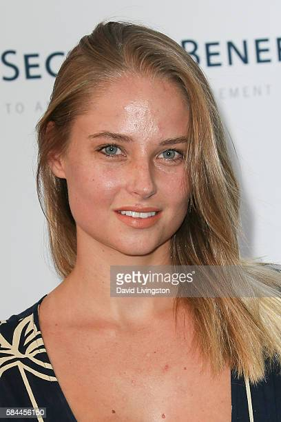 Model Genevieve Morton arrives at the Los Angeles Dodgers Foundation Blue Diamond Gala at the Dodger Stadium on July 28 2016 in Los Angeles California