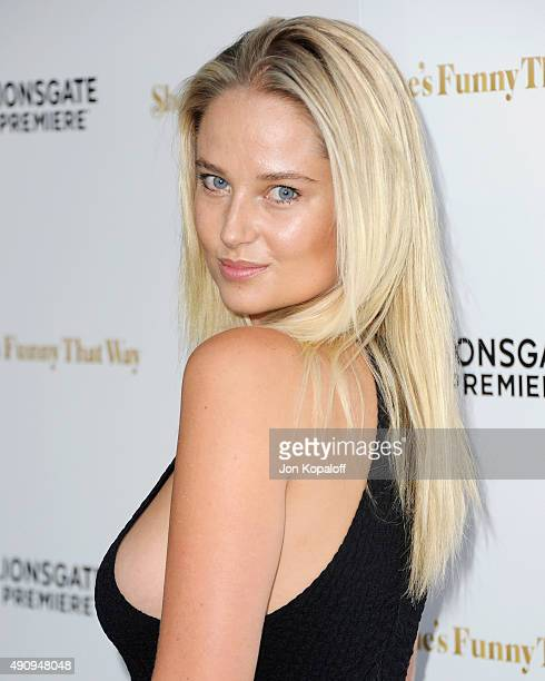 Model Genevieve Morton arrives at the Los Angeles Premiere 'She's Funny That Way' at Harmony Gold on August 19 2015 in Los Angeles California