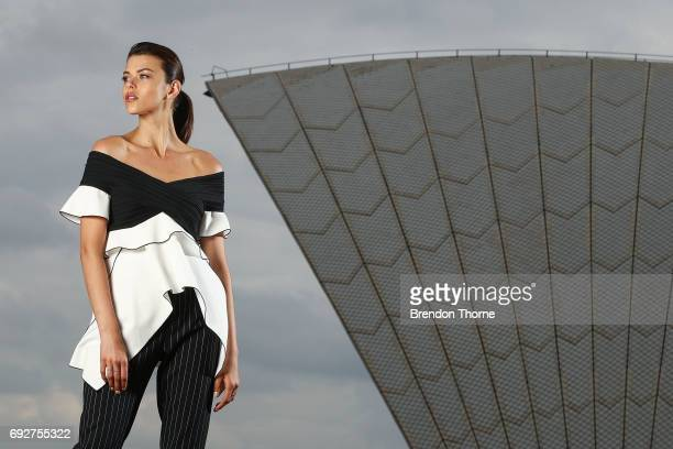 Model Georgia Fowler poses during a Etihad Airways Media Call at the Sydney Opera House on May 12 2017 in Sydney Australia