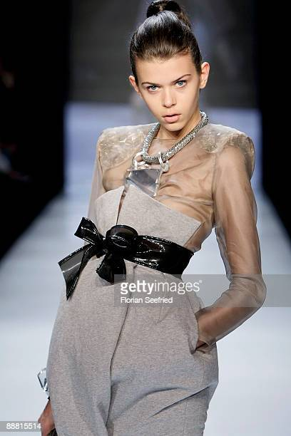 Model Georgia Fowler walks down the runway at the Award 'Designer for Tomorrow by Peek Cloppenburg Duesseldorf' during the MercedesBenz Fashion Week...