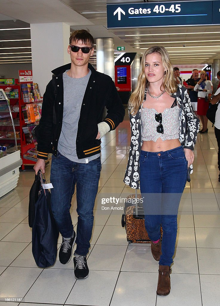 Model Georgia May Jagger and her boyfriend Josh McLellan arrive at Sydney International Airport on April 9, 2013 in Sydney, Australia. Jagger will walk the Camilla runway at Mercedes-Benz Fashion Week Australia.