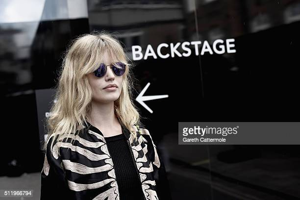 Model Georgia May Jagger leaves backstage after walking the Ashley Williams show during London Fashion Week Autumn/Winter 2016/17 at Brewer Street...