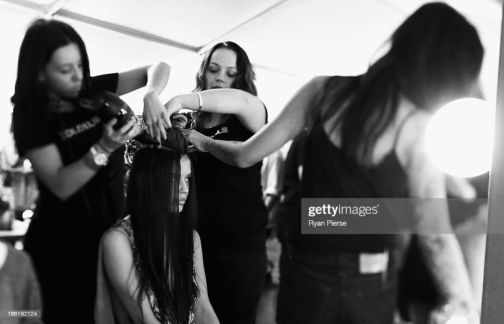 Model Georgia May Jagger prepares backstage for the Camilla show during Mercedes-Benz Fashion Week Australia Spring/Summer 2013/14 at Centennial Park on April 10, 2013 in Sydney, Australia.