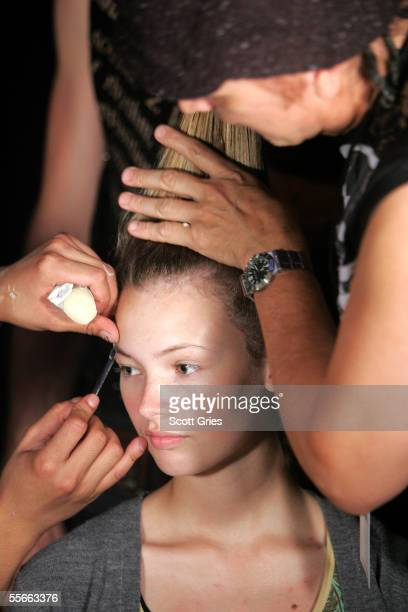 A model getting ready for the runway Backstage at the LAMB By Gwen Stefani Spring 2006 fashion show