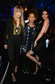 L R model Gigi Hadid actor Jaden Smith and model Kendall Jenner attens the 2016 MTV Movie Awards at Warner Bros Studios on April 9 2016 in Burbank...