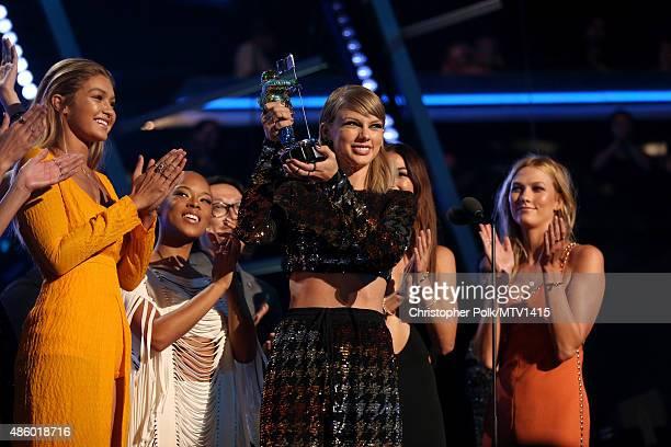 Model Gigi Hadid actress Serayah recording artist Taylor Swift director Joseph Kahn model Lily Aldridge actress Mariska Hargitay and model Karlie...