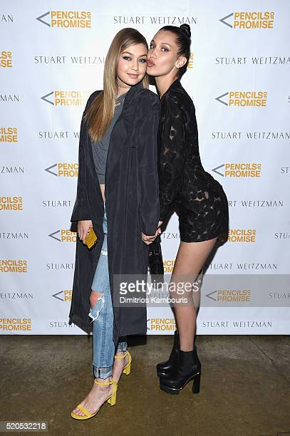 Model Gigi Hadid and Bella Hadid attend as Stuart Weitzman launches its partnership with Pencils Of Promise at Sadelle's on April 11 2016 in New York...