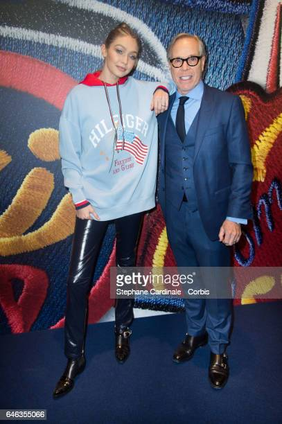 Model Gigi Hadid and designer Tommy Hilfiger attend the Capsule Collection Tommy X Gigi Spring 2017 as part of the Paris Fashion Week Womenswear...