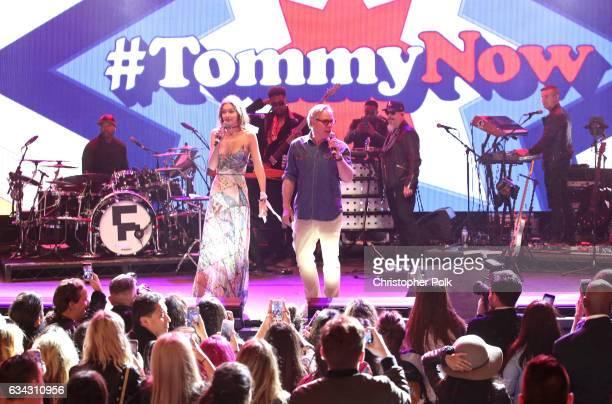 Model Gigi Hadid and fashion designer Tommy Hilfiger speak onstage during the TommyLand Tommy Hilfiger Spring 2017 Fashion Show on February 8 2017 in...