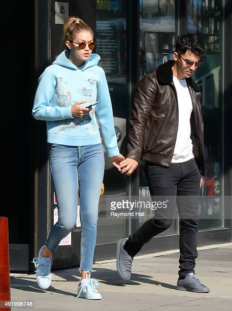 Model Gigi Hadid and Joe Jonas are seen loooking at a new apartment in Soho on October 9 2015 in New York City