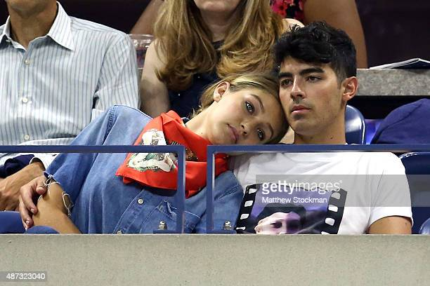 Model Gigi Hadid and Singer Joe Jonas attend the Women's Singles Quarterfinals match between Serena Williams of the United States and Venus Williams...