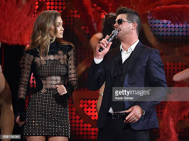 Model Gigi Hadid and singer Robin Thicke perform onstage during Spike TV's 10th Annual Guys Choice Awards at Sony Pictures Studios on June 4 2016 in...