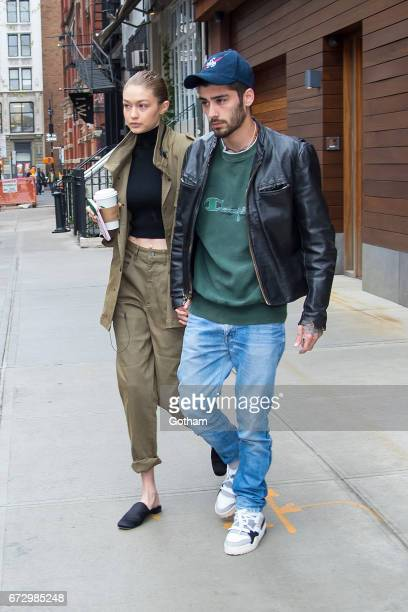 Model Gigi Hadid and singer Zayn Malik are seen in SoHo on April 25 2017 in New York City