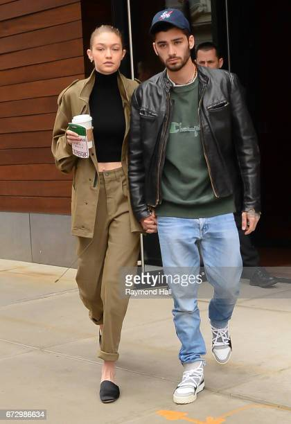 Model Gigi Hadid and singer Zayn Malik are seen walking in Soho on April 25 2017 in New York City
