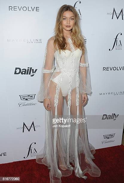 Model Gigi Hadid arrives at The Daily Front Row 'Fashion Los Angeles Awards' 2016 at Sunset Tower Hotel on March 20 2016 in West Hollywood California
