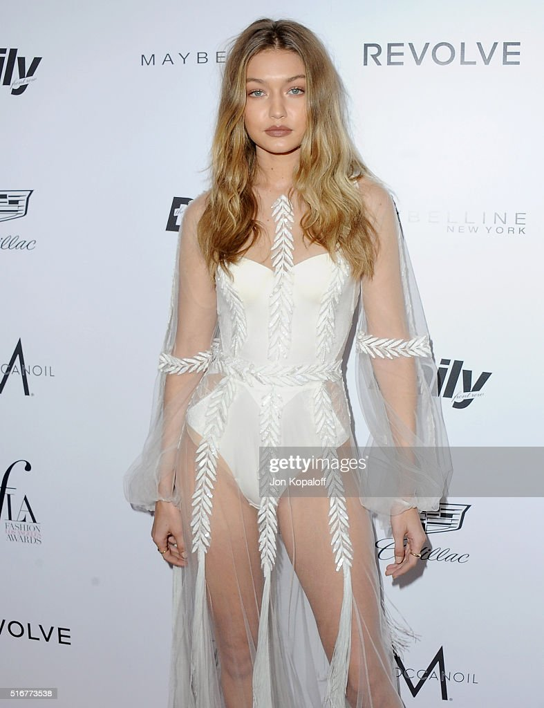 Model Gigi Hadid arrives at The Daily Front Row 'Fashion Los Angeles Awards' 2016 at Sunset Tower Hotel on March 20, 2016 in West Hollywood, California.