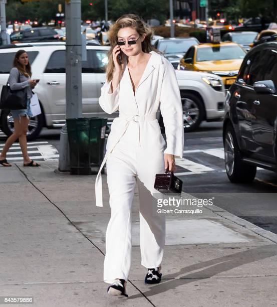 Model Gigi Hadid arrives to the Tom Ford Spring/Summer 2018 Runway Show at Park Avenue Armory on September 6 2017 in New York City