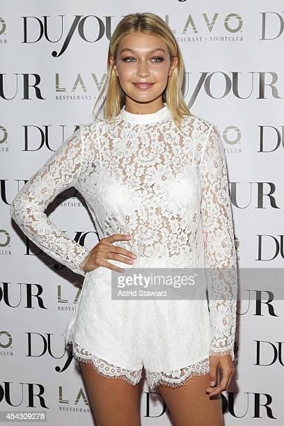 Model Gigi Hadid attends DuJour Magazine's Jason Binn celebrating Kendall and Kylie Jenner's Bruce Weber shoot presented by Juice Press at Lavo...