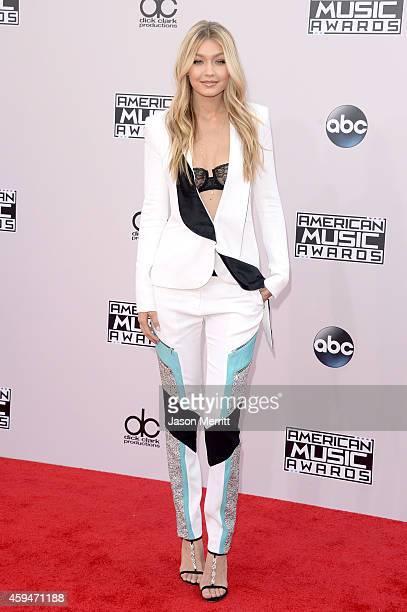 Model Gigi Hadid attends the 2014 American Music Awards at Nokia Theatre LA Live on November 23 2014 in Los Angeles California