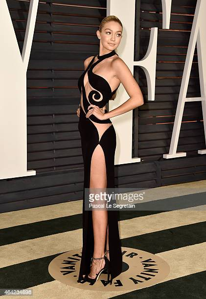 Model Gigi Hadid attends the 2015 Vanity Fair Oscar Party hosted by Graydon Carter at Wallis Annenberg Center for the Performing Arts on February 22...