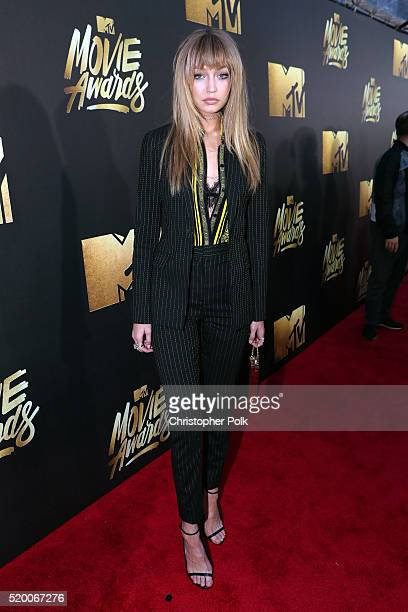 Model Gigi Hadid attends the 2016 MTV Movie Awards at Warner Bros Studios on April 9 2016 in Burbank California MTV Movie Awards airs April 10 2016...