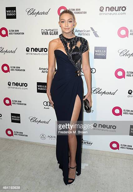 Model Gigi Hadid attends the 23rd Annual Elton John AIDS Foundation's Oscar Viewing Party on February 22 2015 in West Hollywood California