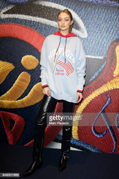 Model Gigi Hadid attends the Capsule Collection 'Tommy X Gigi' Spring 2017 as part of the Paris Fashion Week Womenswear Fall/Winter 2017/2018 on...