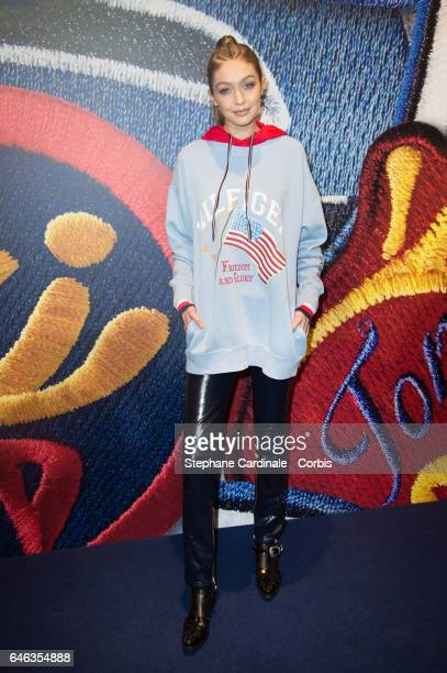 Model Gigi Hadid attends the Capsule Collection Tommy X Gigi Spring 2017 as part of the Paris Fashion Week Womenswear Fall/Winter 2017/2018 >> on...