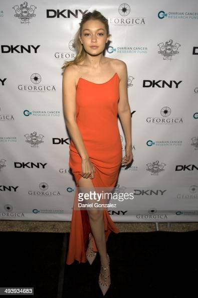 Model Gigi Hadid attends the Ovarian Cancer Research Fund Memorial Day Weekend Dinner And Cocktail Party Benefit held at Georgica Restaurant on May...