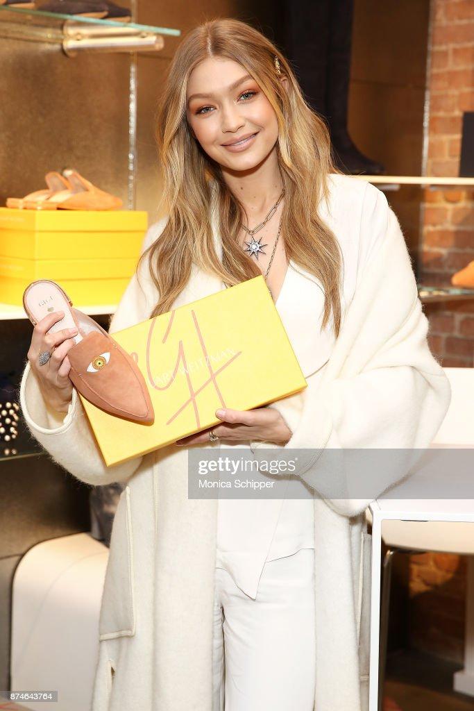 Model Gigi Hadid attends the Stuart Weitzman Pop-Up Event on November 15, 2017 in New York City.