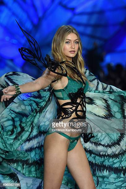 Model Gigi Hadid from California walks the runway during the 2015 Victoria's Secret Fashion Show at Lexington Avenue Armory on November 10 2015 in...