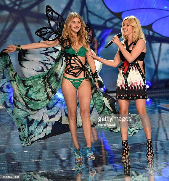 Model Gigi Hadid from California walks the runway while Ellie Goulding performs onstage during the 2015 Victoria's Secret Fashion Show at Lexington...