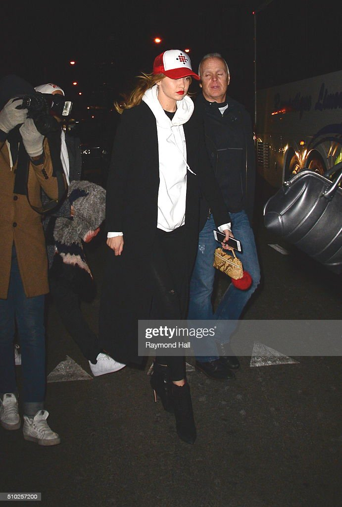 Model <a gi-track='captionPersonalityLinkClicked' href=/galleries/search?phrase=Hailey+Baldwin&family=editorial&specificpeople=5614657 ng-click='$event.stopPropagation()'>Hailey Baldwin</a> is going on a Porty Bus in Soho at 1am in the Morning on February 14, 2016 in New York City.