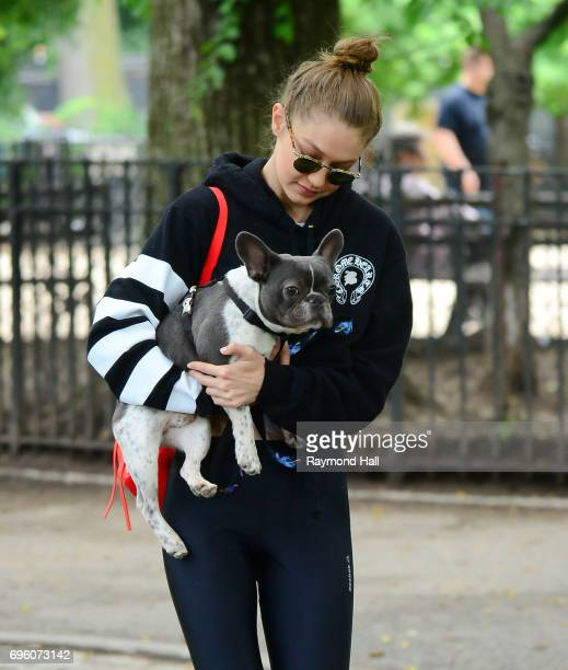 Model Gigi Hadid is seen at the Tompkins Square Dog Run with her dog on June 14 2017 in New York City