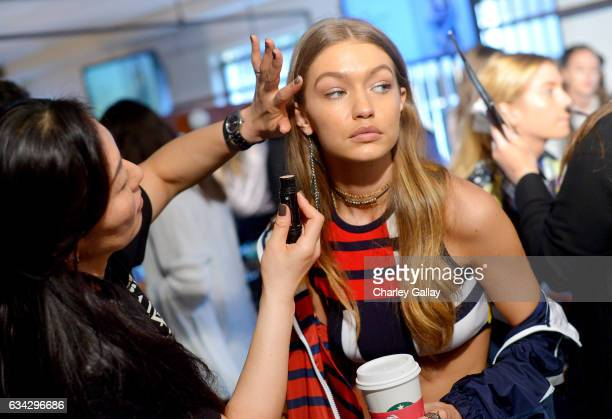 Model Gigi Hadid is seen backstage at TommyLand Tommy Hilfiger Spring 2017 Fashion Show on February 8 2017 in Venice California