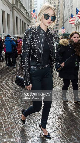 Model Gigi Hadid is seen leaving Diesel Black Gold fashion show during MercedesBenz Fashion Week Fall 2015 at 23 Wall Street on February 17 2015 in...
