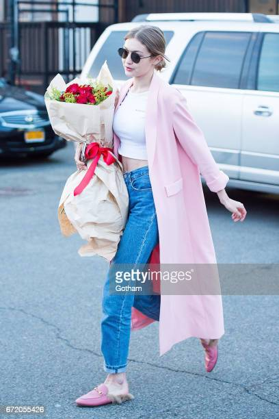 Model Gigi Hadid is seen on her birthday in Midtown on April 23 2017 in New York City
