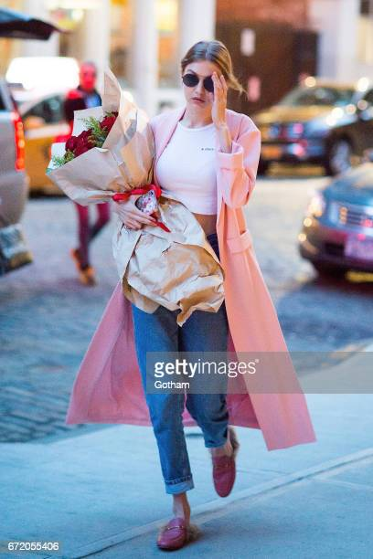 Model Gigi Hadid is seen on her birthday in NoHo on April 23 2017 in New York City