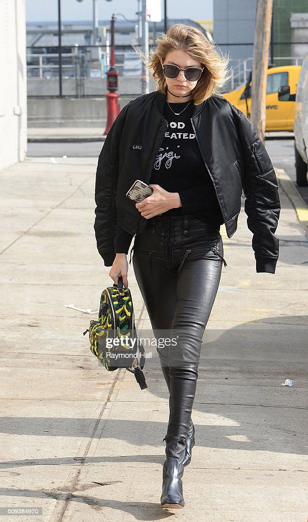 Model <a gi-track='captionPersonalityLinkClicked' href=/galleries/search?phrase=Gigi+Hadid&family=editorial&specificpeople=9198520 ng-click='$event.stopPropagation()'>Gigi Hadid</a> is seen walking in Brooklyn on February 10, 2016 in New York City.