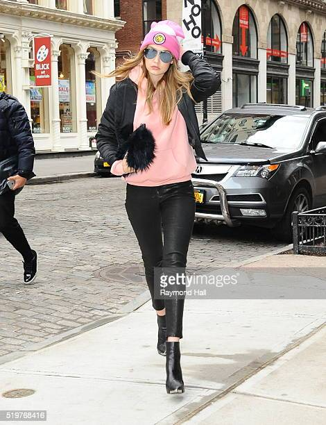 Model Gigi Hadid is seen walking in Soho 2016 in New York City