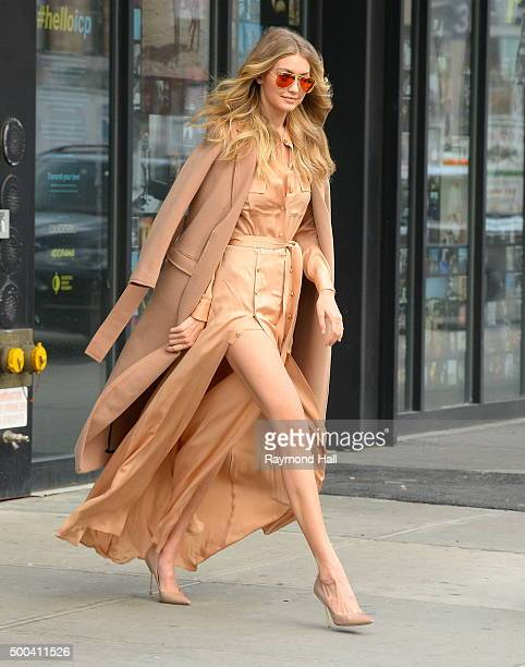 Model Gigi Hadid is seen walking in Soho on December 8 2015 in New York City