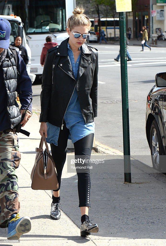 Model Gigi Hadid is seen walking in Soho on May 4 2015 in New York City