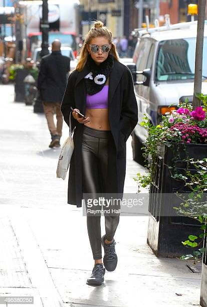 Model Gigi Hadid is seen walking in Soho on November 2 2015 in New York City