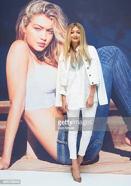 Model Gigi Hadid poses at David Jones Elizabeth Street on August 7 2015 in Sydney Australia