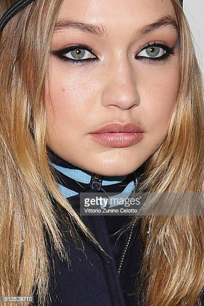 Model Gigi Hadid poses backstage ahead of the Versace show during Milan Fashion Week Fall/Winter 2016/17 on February 26 2016 in Milan Italy